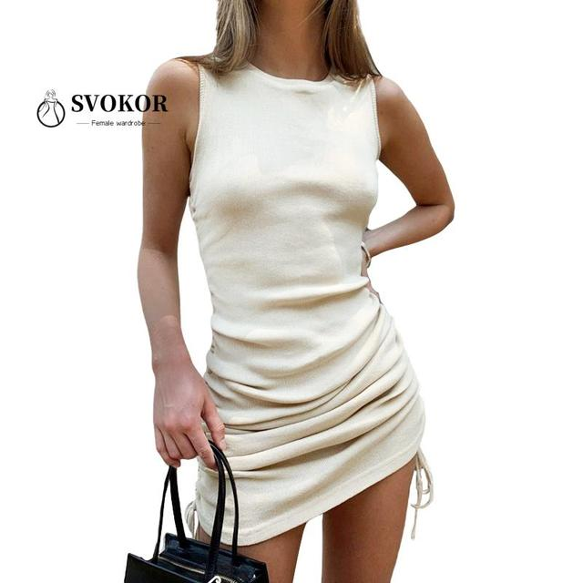 Ruched O-Neck Knitted Drawstring Sleeveless Dress 1