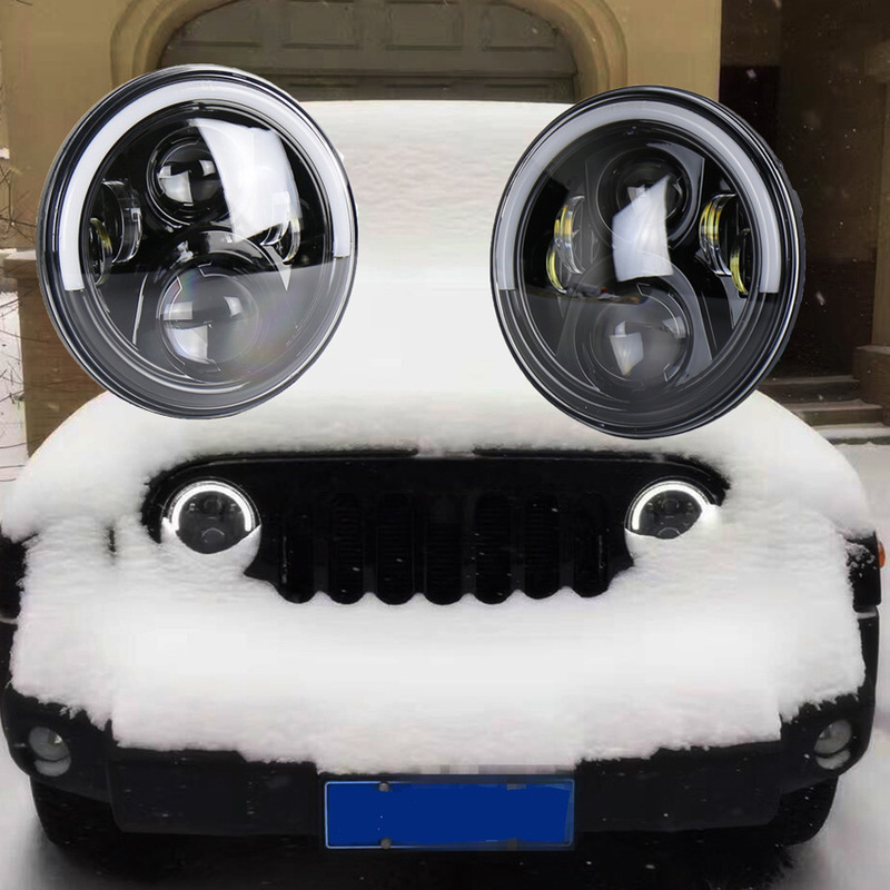 LED Light With Angel Eyes, White Light, Daytime Running Light, Yellow Light, Steering Light, 7-inch Herdsman Headlamp