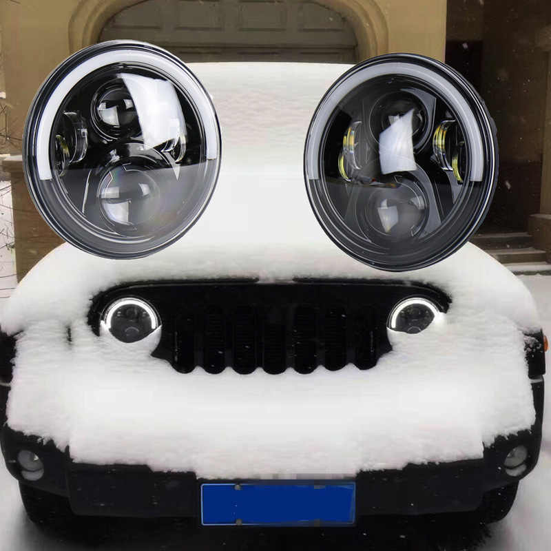 LED light with angel eyes, white light, daytime running light, yellow light, steering light, 7-inch herdsman headlamp