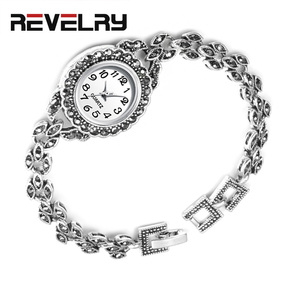 Image 1 - REVELRY Luxury Antique Silver Wrist Watch Turkish Rhinestone Bracelet Watches Women Vintage Geneva Designer Quartz Watch Womens