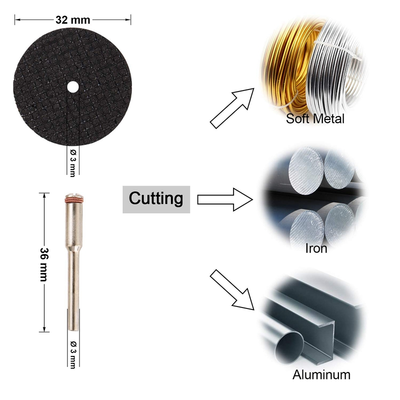30Pcs Cutting Wheel Set For Rotary Tool 1/8 Inch Shank Diamond Cutting Wheel, Mini HSS Saw Blades, Resin Cut Off Disc Combo Cutt