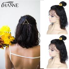 Short Bob Lace Front Wig Natural Wave Human Hair Wigs For Black Women 150% Density Remy Wavy Wigs Glueless Natural Black HANNE natural wave lace front human hair wigs middle part short remy wig for black women perruque cheveux humain 1b 99j hanne hair