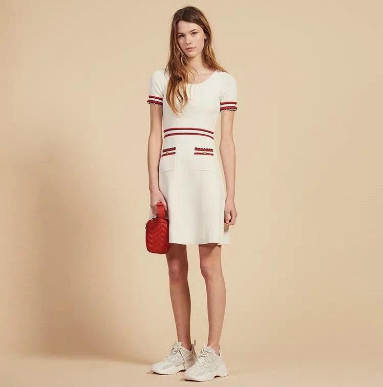 Simple maison 2019 printemps et été nouveau Style femmes robe contraste couleur poche décoration rayures doux robe en Jersey R30194e