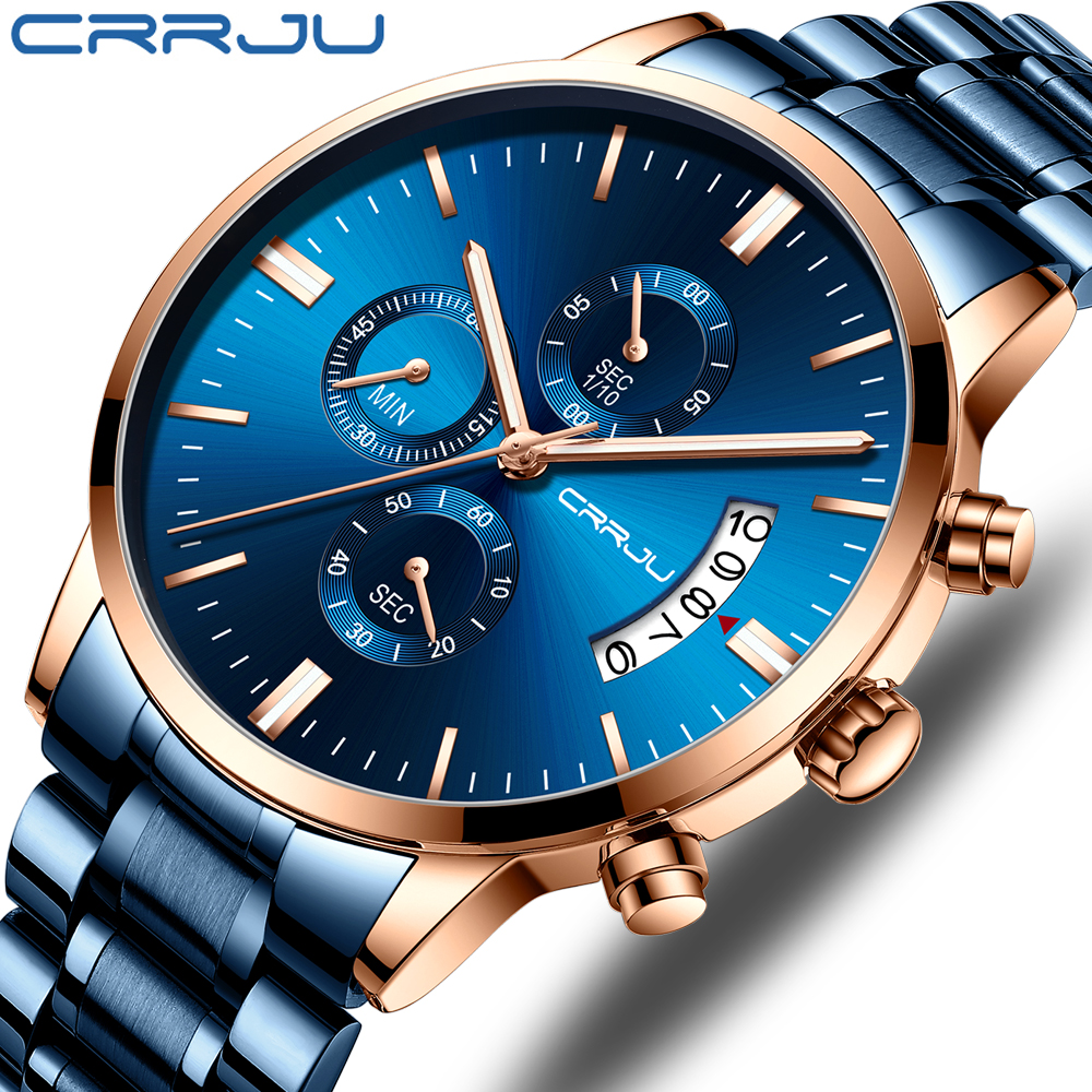 CRRJU Blue Mens Watches With Stainless Steel Top Brand Luxury Men Sports Chronograph Quartz Watches Clock Relogio Masculino