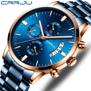 CRRJU Blue Mens Watches with Stainless Steel Top Brand Luxury Men Sports Chronograph Quartz Watches Clock Relogio Masculino(China)