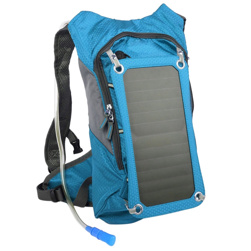 Hiking Backpack Double Shoulder Solar Bag With Removable Solar Panel Multifunctional For Smart Phones Tablets Gps Bluetooth And