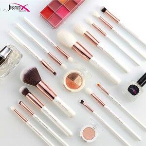 Image 5 - Jessup pérola branco/rosa de ouro pincéis de maquiagem profissional conjunto de ferramentas de escova kit fundação em pó natural cabelo sintético