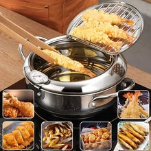 2021 New Japanese Deep Frying Pot With Thermometer And Lid 304 Stainless Steel Kitchen Tempura Fryer Pan Cooking Pots and Pans