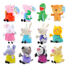 лучшая цена Original 19cm Peppa Pig George Animal Stuffed Plush Toys Cartoon Family Friend Pig Party Dolls For Girl Children Birthday Gifts