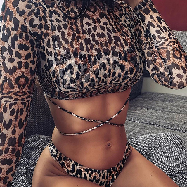 Snake Print Push Up Bikini Set 6