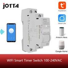 Casa inteligente 18mm 1p wifi controle remoto app interruptor de sincronismo escada temporizador trilho din universal 110v 220v ac entrada