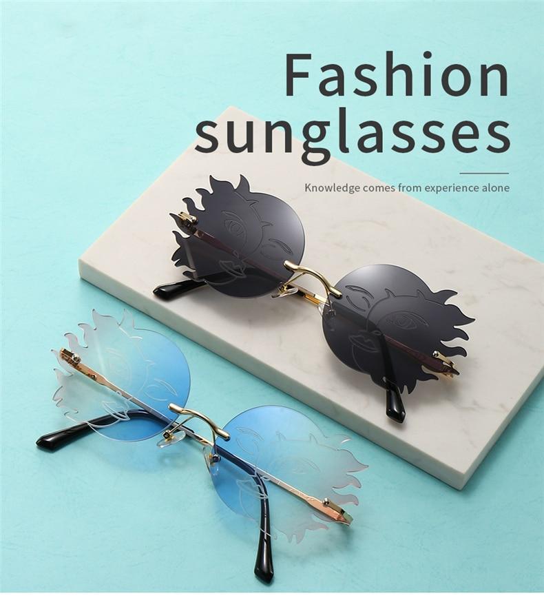 Модные солнцезащитные очки без оправы с Луной от солнца женские