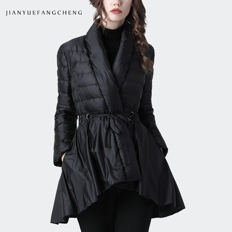 Elegant Women Winter Skirt Down Jacket Irregular Draped Long Puffer Coat High Waist With Belt Warm Thick White Duck Down Jackets