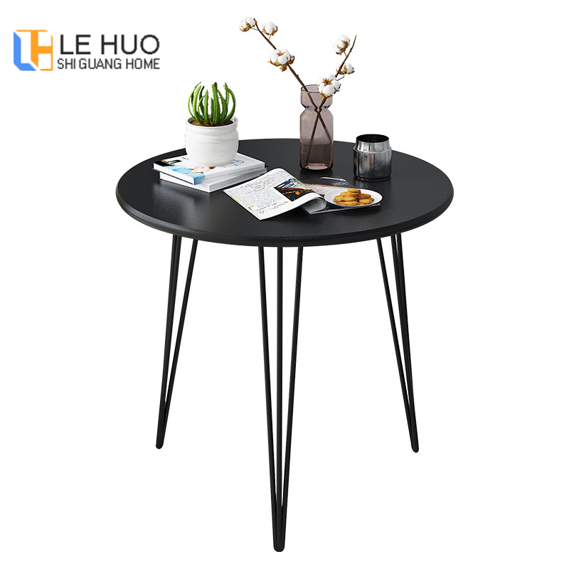 Round Coffee Table Durable Compact Small Dinning Table Black White Wooden Tea Tabke With Steel Legs For LIving Room And Bed Room