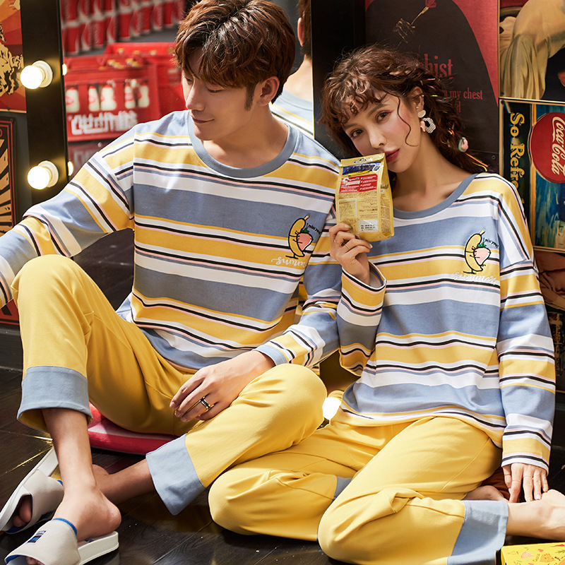 2019 Autumn Winter Long Sleeve Warm Cotton Pajamas For Couples Plaid Pajamas For Men Sleep Lounge Sleeping Clothes For Men