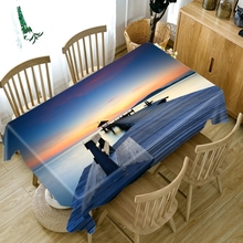 3D Seascape Wooden Bridge Pattern Tablecloth Thicken Cotton Rectangular/Round Table Cloth for Wedding Picnic Party