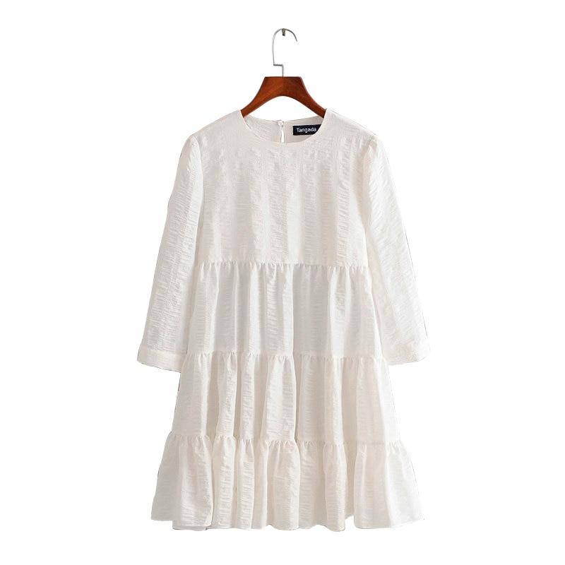 Tangada Summer Fashion Women Solid White 3D Dress O Neck Long Sleeve Ladies Casual Loose Midi Dress Vestidos 3H240