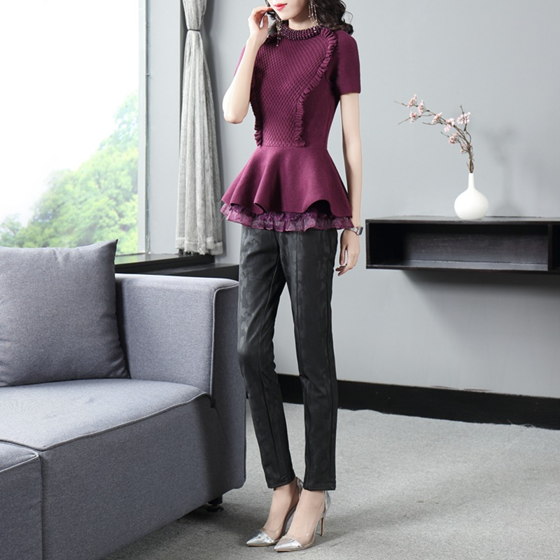 Women's Fashion Casual Set 2020 spring new knitted tops and camouflage pattern leather pants feet pants women suit