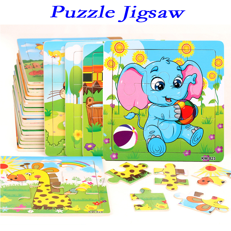 Puzzle Jigsaw For Children Mini Wood Puzzle Size 12.5*12.5CM Kids Toy Wooden 3D Baby Cartoon Animal/Traffic Educational Toy