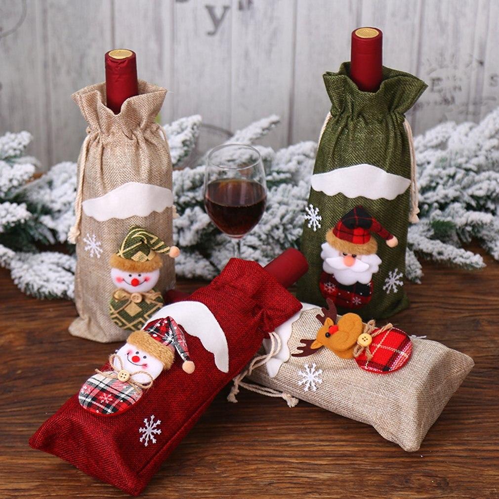 Christmas Decorations Burlap Old Man Doll Red Wine Bottle Set Wine Bag Festival Hotel Decoration Burlap Wine Set