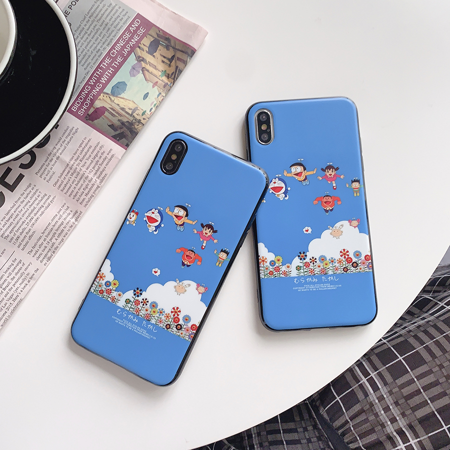Cute Cartoon Robot Cat phone case for iphone X XS MAX XR 8 7 6 6s plus soft silicon Classic cartoon 8plus cases