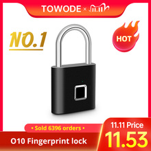 Towode Keyless USB Rechargeable Door Lock Fingerprint Smart Padlock Quick Unlock Zinc alloy Metal Self Developing Chip