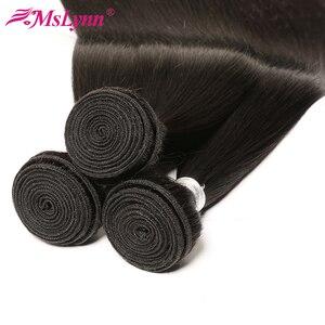 Image 5 - Pacotes de cabelo em linha reta com fecho de cabelo brasileiro tecer pacotes com fecho de cabelo humano pacotes com fecho mslynn remy cabelo