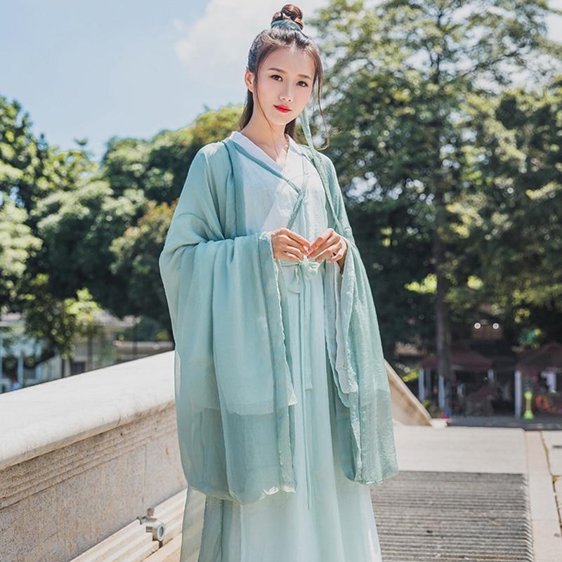 Female Ancient Dancewear Tang Dynasty Fairy Dress Swordsman Hanfu Robe Chinese Traditional Classical Dance Folk Costume DWY2808