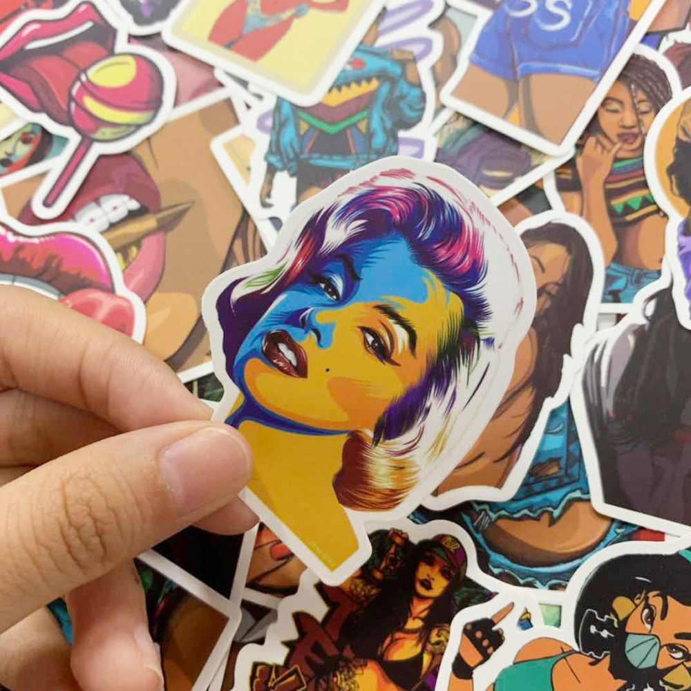50 pçs/lote Personalizado Adesivos Papelaria Personalidade Sexy Beleza Etiqueta Móvel TZ077G BoxStationery Adesivo À Prova D' Água