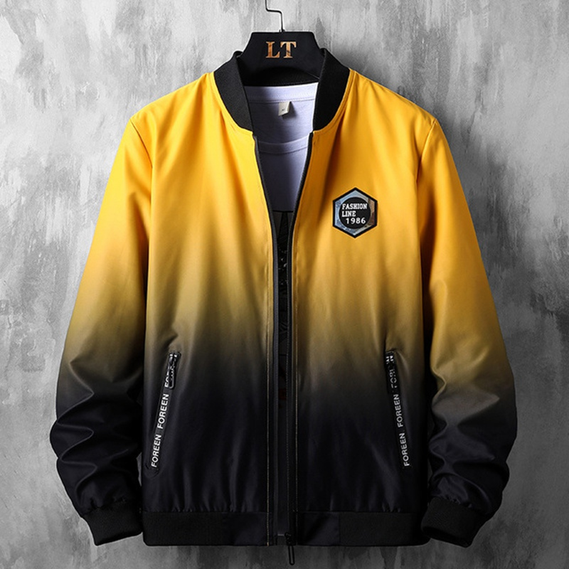 Thin Men's  Plus Size XL Baseball Collar Coat Spring Autumn Tide Casual Jacket Big Size Gradient Cardigan 8xl  Bomber Jacket