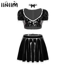 Maids Cosplay Exotic Costumes Women Clubwear Miniskirt Outfit Sexy Latex French Maid Servant Babydoll Uniforms Sissy Fancy Dress