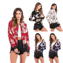 Retro Floral Print Women Short Spring Jacket O-Neck Long Sleeve Slim Bomber Plus Size Thin Zipper