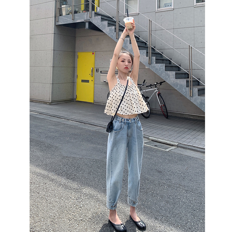 Online Celebrity Style Jeans Women's 2019 New Style Summer Influx High-waisted Loose-Fit Capri Faded Light Color Shorts Dad Pant