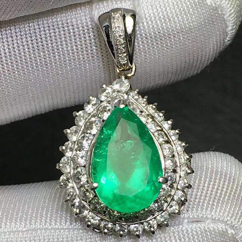 Bijoux fins réel Pt900 platine colombie pendentif émeraude Emearld 3.13ct or diamant pendentif colliers de pierres précieuses pour les femmes
