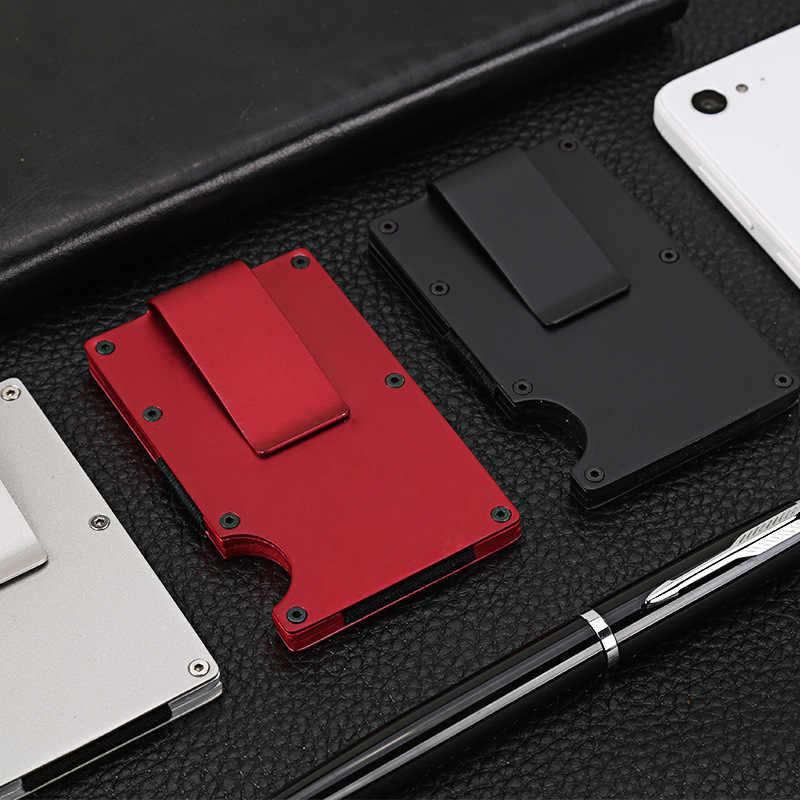 DIENQI aluminio Metal Rfid carteras hombres Slim Mini cartera monederos dinero bolsa pequeño delgado hombre Minimal billetera Walet Smart Wallet valet