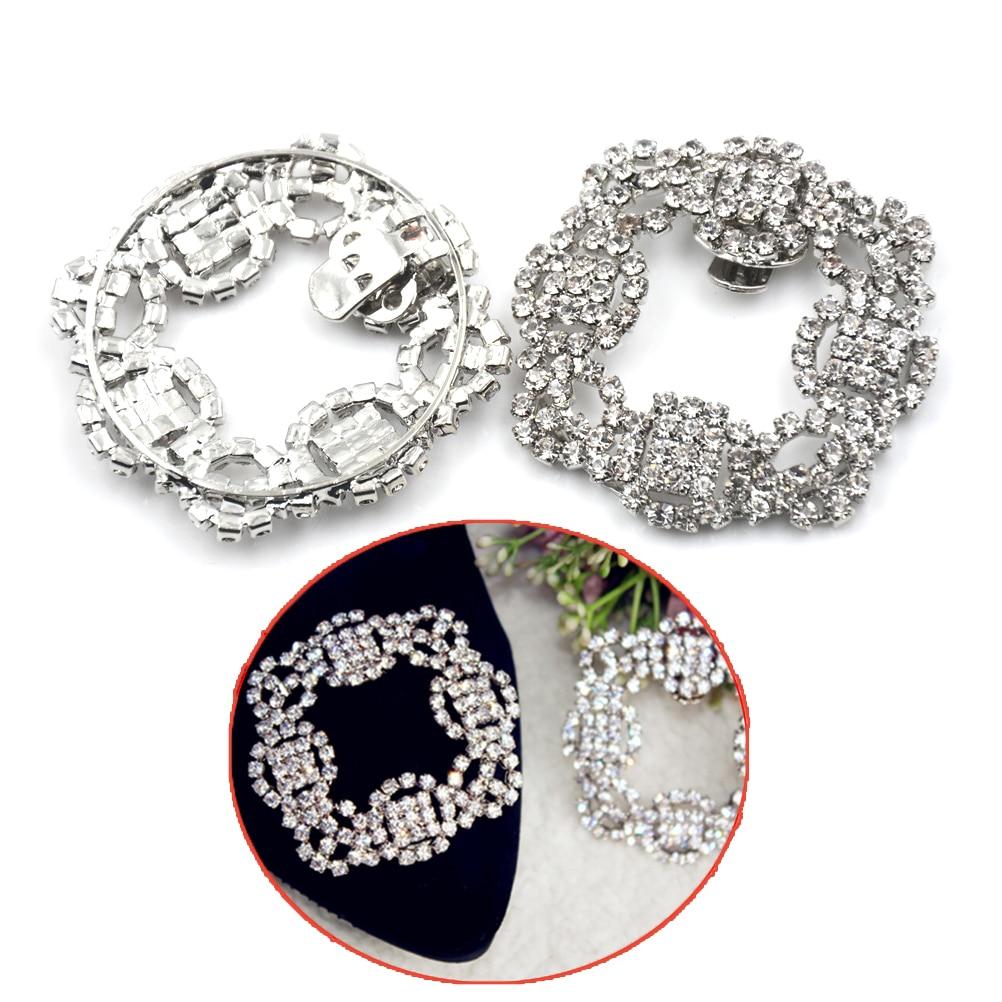 2Pcs/lot Shoe Rhinestone Charm Metal Shoe Square Clamp Women Crystal Shoe Clip Decoration Bridal Shoes Rhinestone Accessories