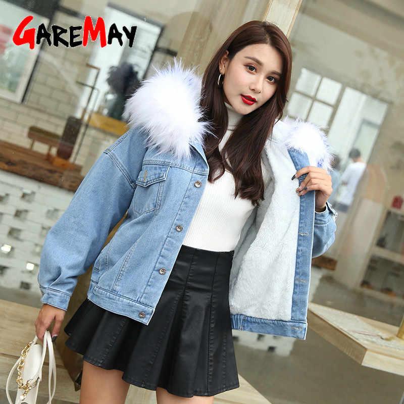 GareMay Neue Winter Plus Samt Damen Denim Jacke Frauen Große Pelz Kragen Denim Mantel Damen Warme Denim Jacke für Frauen jacke