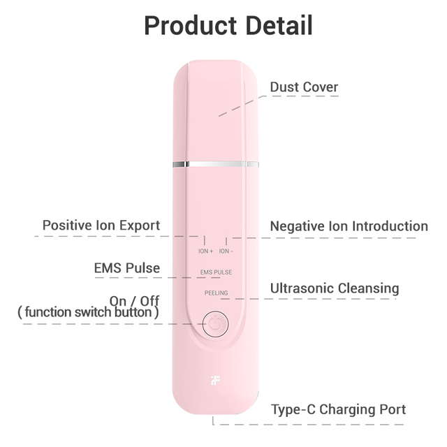 InFace Ultrasonic Facial Skin Scrubber Cleaner Ion Acne Blackhead Remover Peeling Shovel Beauty Facial Massager Skin Care Tools 5