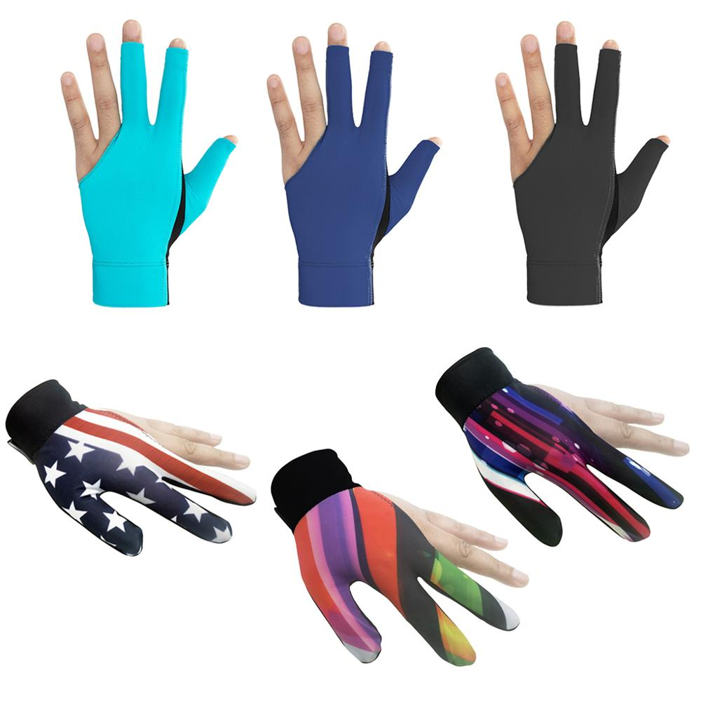1pc Billiards Three Finger Gloves Lycra Anti Skid Snooker Billiard Cue Glove Pool Left Hand High Elasticity For Unisex