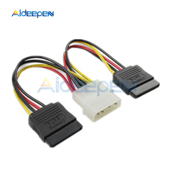 4 Pin IDE Molex to 2 Serial ATA SATA Y Splitter Dual Hard Drive Adapter Cable Connector image