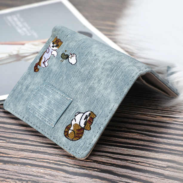 Cute Embroidered Buckle Coin Purse Wallet GRAY RABBIT