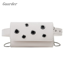 Guarder Hollow Out Design Belt Bag Women Pure Messenger Bag Chain Shoulder Fashion Women's Waist Bag New Punk Fanny Pack GUA0011 stylish hollow out tassel snack chain waist belt for women
