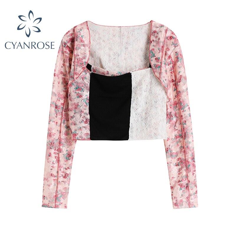 Для женщин из 2 предметов летние топы 2021 Новый Цветочный принт на плечо + Лоскутная подвязка корейский стиль стильный Сексуальный Тонкий Лед...