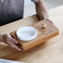 Melhor cinzeiro casa bandeja inferior de bambu cerâmica pequena caixa com armazenamento espaço cigarro cinzeiro (22x12cm) cor de madeira cl19030516