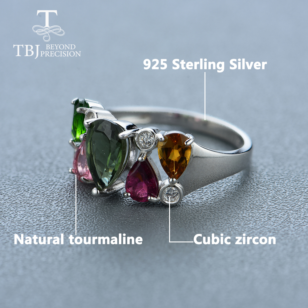 Natural Multi Tourmaline Gemstone Ring Solid 925 Sterling Silver Designer Jewelry Size 7.5