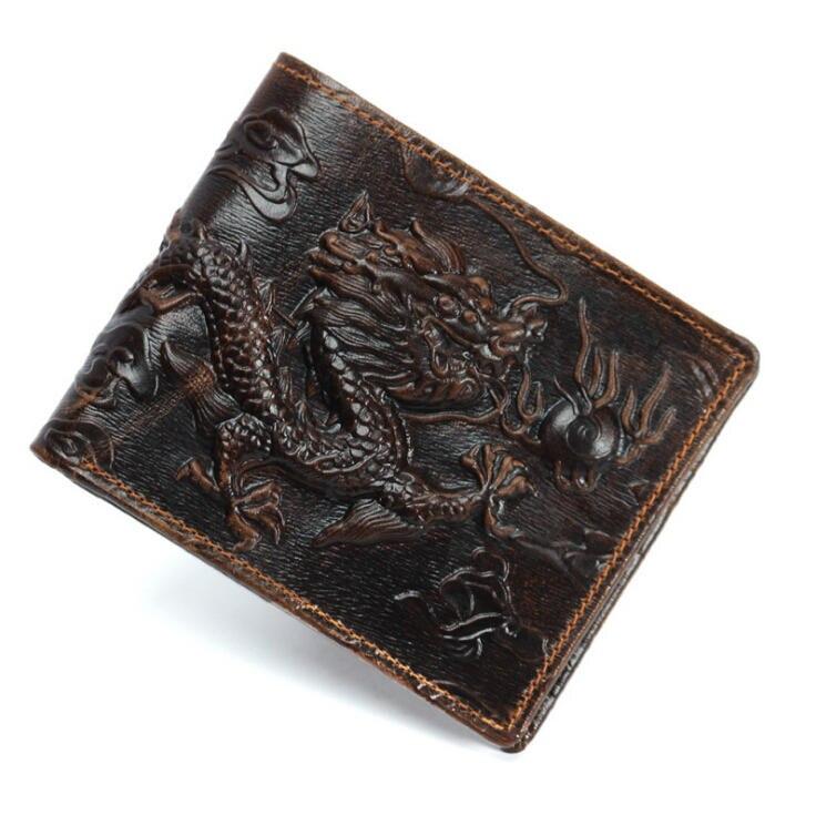 Wallet Vintage Personality Simple-Design Purse Money-Clip Cloud Short Totem Embossing-Dragon