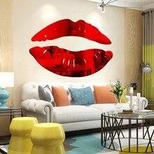 Novo estilo diy arte mural decalques decoração da sua casa lábios sexy adesivo de parede simples brilho 3d espelho adesivos acrílico beijo lábios