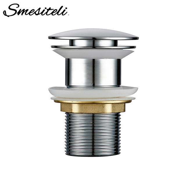 Smesiteli Bathroom Sink Drain Brass Without Overflow Hole Without Hole Push Down Pop Up Bathroom Drain