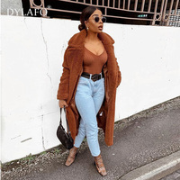 Female Overcoat Autumn Winter Elegant Faux Fur Long Coat Ladies Tops Overcoat Outwear Thick Warm Teddy Bear Pocket Cardigan Coat