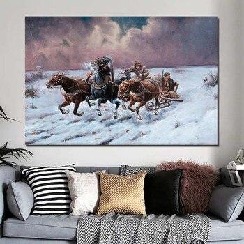 Famoso pintor nieve caballo pared arte lienzo pintura póster impresiones pintura moderna pared imagen para sala de estar decoración del hogar arte